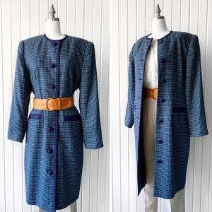Vintage 90s Houndstooth Button Front Dress